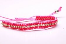 AMAZING FUN DARK PINK BEADED ROPE BRACELET CHIC SPARKLING DIAMANTE ROW (CL18)