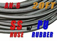 "AN6 6-AN AN-6 (3/8"") STAINLESS STEEL BRAIDED OIL FUEL LINE HOSE 20ft"