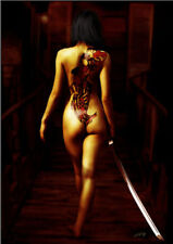 Sexy girl naked with Japanese;sword HD oil painting print on canvas 12x18