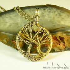 Unique Tree Of Life Pendant German Silver & Brass Wire Wrapped Pendant