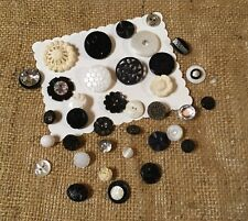 VTG Buttons Lot of 40 Fancy Black White Cream Plastic Glass Crafts Cards Collage