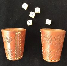 2 VTG Leather Dice Cups Hand Stitched Tooled