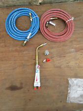 BRITISH - OXYGEN AND ACETYLENE-- SMALL BRAZING / SOLDERING TORCH SET- WITH PIPES