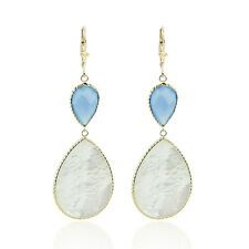 14K Yellow Gold Gemstone Earrings With Mother Of Pearl And Blue Onyx