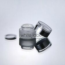 30G FROSTED GLASS COSMETIC CREAM JAR WITH SILVER LID WHOLESALE- NEW 50PCS/LOT