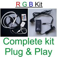 5 mtr RGB Colour Changing LED Strip IP33 Rated + 24 Key IR Remote + Power Supply