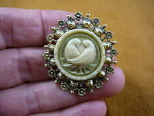 (cs7-27) DOVES bird CAMEO ivory green round Pin Jewelry brooch PENDANT necklace