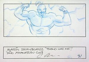 ALADDIN 2019 Signed DINO ATHANASSIOU Hand Drawn Storyboard Page WILL SMITH #AD