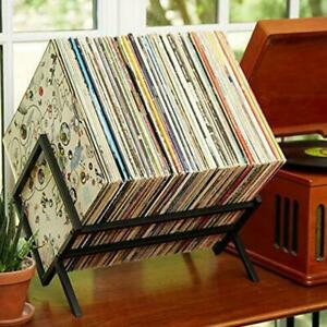 MODERN VINYL Record Holder Matte Black Metal 80-100 LP Storage Simple Quick