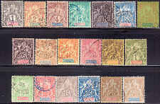 1892-1904 New Caledonia Yvert #41-53 + 59-64 two issues Used Cv 355€