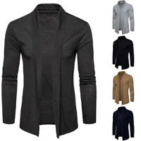 Men's Casual Cardigan Basic Solid Color Long Sleeve Lapel Thin Coat GIFT