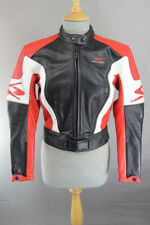 BLACK, RED & WHITE SPYKE LEATHER RACING BIKER JACKET + ELBOW/FOREARM ARMOUR 34IN