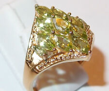 2.65ct 11-Stone Peridot ring, diamond shaped, in gold bond brass, Size R.