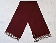 VINTAGE AUTHENTIC BURGUNDY 100% CASHMERE LONG MEN'S FRINGE SCARF