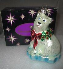 Christopher Radko Holly POLAR BEAR on ICEBERG Christmas Ornament w/Box Mint