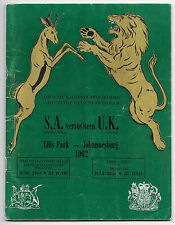 1962 - South Africa v British Lions, 1st Test Match Programme.