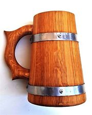 Wooden Oak Beer Mug Cup Tankard Solid Wood Great Gift 0.7l Handmade Natural