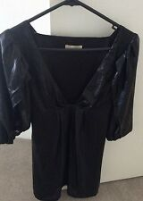 ASOS Womens Black Pleat Sleeve Limited Edition Bebe Baby doll Mini Dress Sz 8