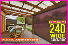 240 X 240cm PVC Blinds Tinted Patio Bistro Outdoor Veranda Cafe Shade Charcoal