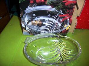 STUDIO NOVA Vintage Clear Glass Christmas Tree inspired Candy Dish