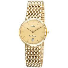 Edox Men's 27021 37J DI Swiss Le Genevez Ultra-slim Goldtone Date Watch