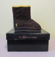 Polo Ralph Lauren Toddler Boys Girls Size 8 Winter Boots Brown Suede Shearling