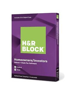 H&R Block Tax Software Deluxe and State Edition 2019 Genuine