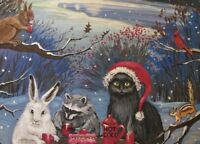 ACEO PRINT OF PAINTING XMAS RYTA BLACK CAT SNOWMAN WINTER BLACK CAT SQUIRREL ART