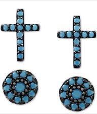 Macy's Sterling Silver Turquoise Cross & Oval Stud Earrings Set D706