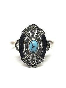 Silver Ring Style Art Deco Stone Turquoise And Marcasites