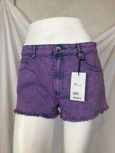 Forever 21 High rise cut offs purple shorts size 30 UK small/medium in US
