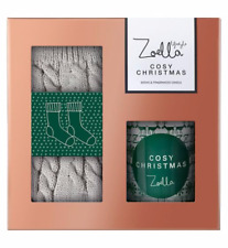Zoella Cosy Christmas Sock & Candle Gift Set Boxed Gift Fast Post