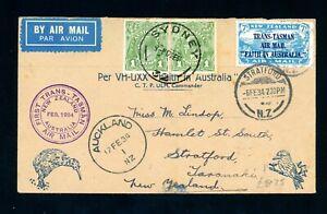 Australia - New Zealand 1934  Trans Tasman  First Flight Cover    (A534)