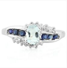 AQUAMARINE SAPPHIRE & DIAMOND SILVER RING 0.80 CWT EARTH MINED STONE HALLMARKED