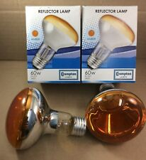 4 x 60W ES E27 R80 RO80 QUALITY CROMPTON AMBER SPOT REFLECTOR LAMP 80mm