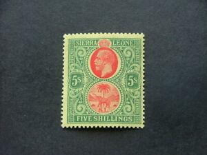 Sierra Leone KGV 1912 5/- red & green on yellow SG126 LMM