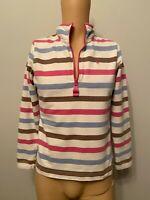 Joules Jumper Ladies Womens Size 12 Stripe Sweatshirt White Pink Blue 1/4 Zip