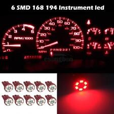 10x Red T10 194 168 Wedge 6-SMD LED Indicator Dash Instrument Panel Led Lights