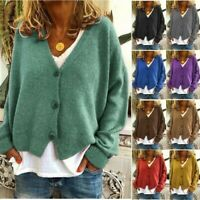Womens Knitted Coat Cardigan Ladies Button Loose Jumpers Sweater Tops Plus C998