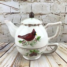 Christmas Teapot Stacked Tea for One Red Cardinal Bird Pine Tree Branch Winter