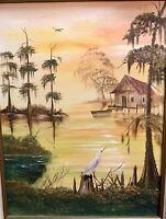 """Vintage Original Art Oil on Canvas Florida Everglades Swamp Signed Framed 22"""""""