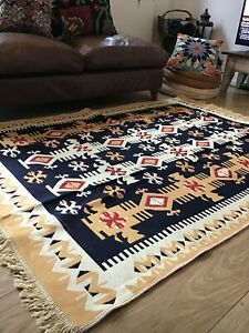 Turkish Kilim, Anatolian Rug Double Sided, Ethnic Home Decor, Traditional Motifs