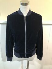 Peyton Jensen Womens Size XS Blue Velvet Zip Up Bomber Jacket Festive.   MD