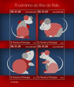 St Thomas - 2019 Chinese New Year of the Rat - 4 Stamp Sheet - ST190706a