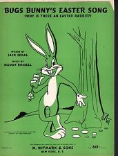 Bugs Bunny's Easter Song 1955 Warner Brothers Cartoons Sheet Music