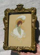 Rare~Small Antique Victorian Aged Picture Frame Watercolor Lady Elma R Caner ?