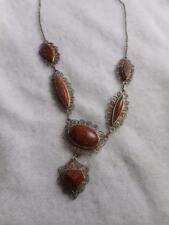 VINTAGE 800 SILVER FILIGREE & GOLDSTONE LINK NECKLACE W/ CENTER DANGLE
