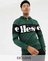 Ellesse Mens Hoody Hoodie Logo Panel 1/4 Zip Green Davour Big Sizes RRP £60 New