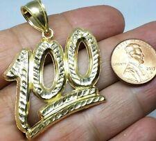 "GOLD 100 pendant emoji 10k yellow bling necklace diamond cut hip hop 2"" 6.5g Big"