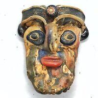 Glass Anthropomorphic Face Bead Mediterranean Collectible Pendant Antique Style